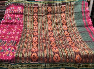 Elephants and flower motifs Khandua silk Ikat Saree without blouse piece