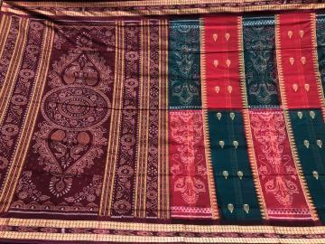 Traditional Bomkai n Ikat motifs Cotton Saree with blouse piece