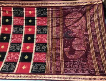 Peacock Aachal Bomkai butis Ikat Cotton Saree with Blouse piece