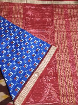 Traditional Double Ikat Pasapalli Silk Saree with Blouse Piece