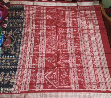 Exclusively woven dancing figure motifs with tribal Aanchal Ikat Silk Saree with Blouse Piece