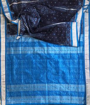 Intricately woven Tree motifs Ikat Silk Saree with Blouse Piece