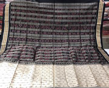 Fish motifs Hazarbuti Silk Saree with Blouse Piece