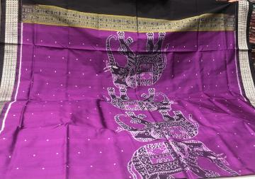 Elephant motifs on border and Aanchal with blouse Work Ikat Silk Saree