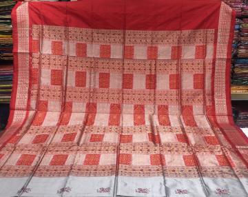 Bird motifs Grey and red combination Bomkai Silk Saree with Blouse Piece