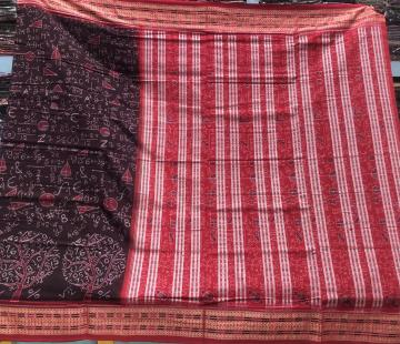 Numbers equations signs of mathematics Ikat cotton Saree with blouse piece