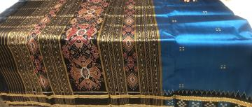 Peacock blue and black combination Pasapalli border Khandua silk saree without blouse piece