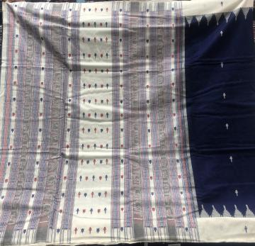 Traditional Aanchal fish and turtle motifs thick cotton Sambalpuri Saree with blouse Piece