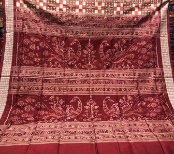 Peacock motifs Aanchal double Ikat Utkallaxmi Silk Saree with blouse Piece