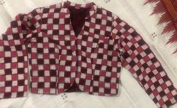 Jacket pattern double Ikat Pasapalli cotton blouse with lining
