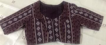 Ikat and Bomkai mix Cotton blouse with lining