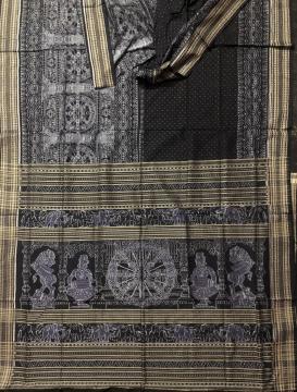 Temple theme chakra and lion motifs cotton Ikat Saree with blouse piece
