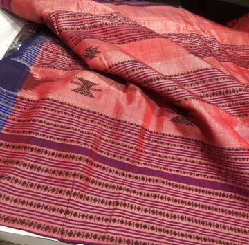 Cotton Tasar mix greyish red Kotpad Saree with Blouse Piece