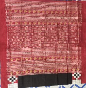 Double Ikat Pasapalli Border with Ikat Aanchal Silk Saree with Blouse Piece