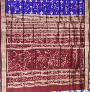Farming theme with Pasapalli touch Ikat Silk Saree with Blouse Piece