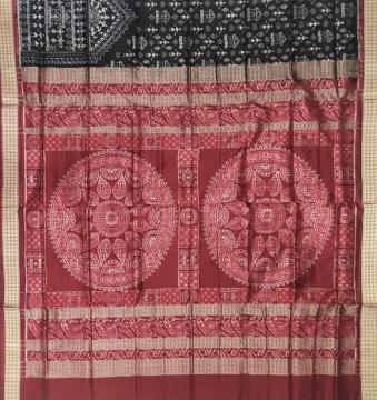Conch motifs Aanchal Tribal Motifs body Ikat Silk Saree with Blouse Piece