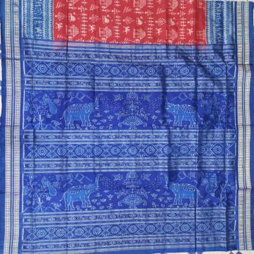 Elephant motifs Aanchal Tribal theme Body Ikat Silk Saree with Blouse Piece