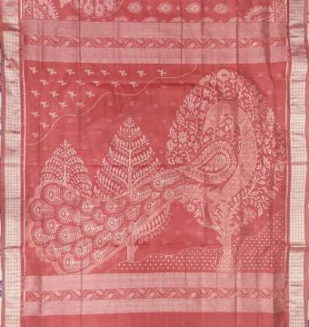 Peacock motifs body and Aanchal Ikat Silk Saree with Blouse piece