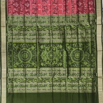 Intricately woven animal motifs body with traditional Aanchal Ikat Silk Saree with Blouse Piece
