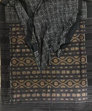 Geometric pattern body with traditional Aanchal Ikat Cotton Saree without blouse piece