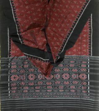 Flower motifs maroon and black Cotton Ikat Saree without blouse piece