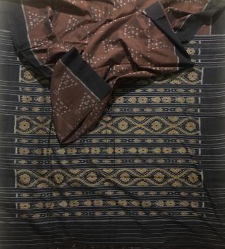 Nuapatana Cotton Ikat Saree without blouse piece