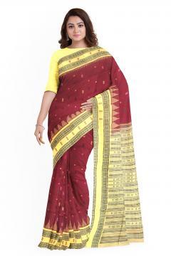 Phoda kumbha border with Fish motifs and butis Cotton Saree with blouse Piece