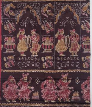 Exquisite marriage theme body with tribal Aanchal Ikat Silk Saree with Blouse Piece