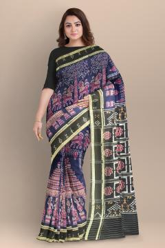 Exclusively woven temple theme body with pasapalli border Cotton Ikat Saree without blouse piece