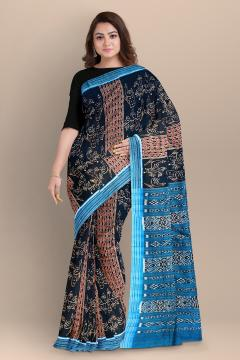 Traditional Aanchal with all over peacock motifs body cotton Ikat Saree without blouse piece