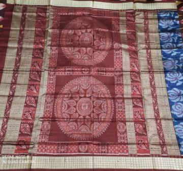 Sankha motifs Jhoti Aanchal with Flower motifs body Ikat Silk Saree with Blouse Piece