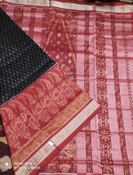 Intricately woven women motifs inside paisley Ikat Silk Saree with Blouse Piece