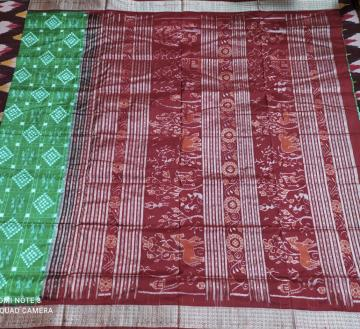 Animal motifs Aanchal with tribal touch Pasapalli Silk Saree with Blouse Piece