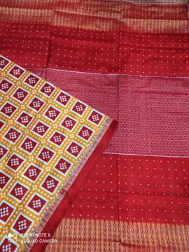 Double Ikat Pasapalli Silk Saree with Blouse Piece