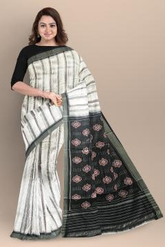 Body stripes and flower motifs Aanchal Cotton Ikat Saree without Blouse Piece