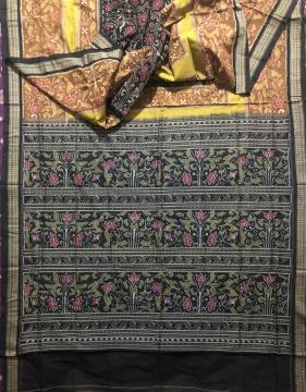 Intricate woven flower Motifs cotton Ikat saree without blouse piece
