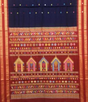 Exclusively woven Fish motifs Border Cotton Dolabedi Saree with Blouse Piece
