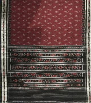 Maroon black Traditional Nuapatana Cotton Ikat Saree without blouse piece