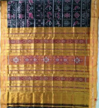 Exclusively woven ikat weave Nabakothi Khandua silk Saree with blouse piece