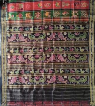 Parrot and fish motifs Aanchal Nabakothi Khandua Silk Saree with Blouse Piece