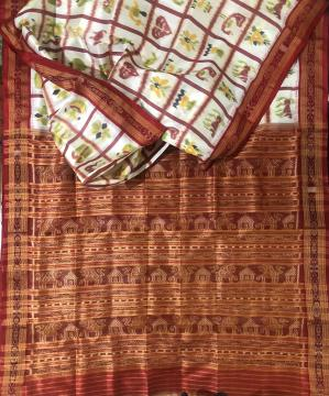 Exclusively woven Lion and temple motifs Aanchal Nabakothi Khandua Silk Saree without Blouse Piece