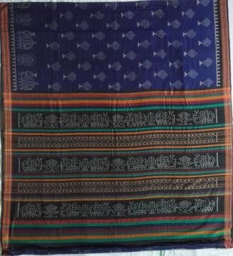 Exclusively woven Elephant Motifs Border and Aanchal Cotton Ikat Saree without Blouse Piece