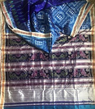 Tribal and traditional motifs half n half Ikat Khandua Silk Saree with blouse piece