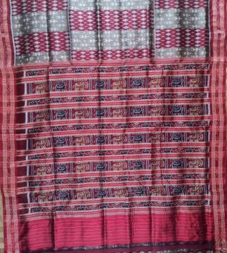 Traditional and Tribal Motifs Khandua SIlk Saree without Blouse Piece