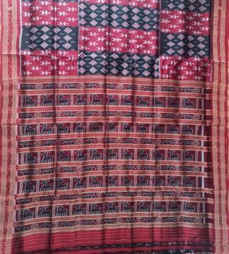 Tribal and Pasapalli pattern Ikat Khandua Silk Saree without Blouse Piece