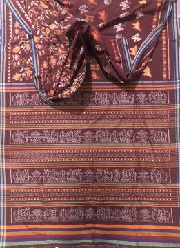 Flower n butterfly motifs body with elephant motifs Aanchal cotton Ikat Saree without blouse piece