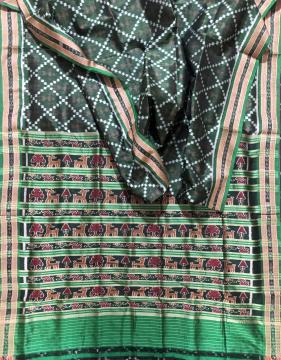 Tribal motifs body with animal motifs Aanchal Khandua Silk Saree without blouse piece