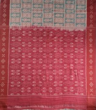 Pasapalli border with All over Ikat weave Cotton Saree without blouse piece