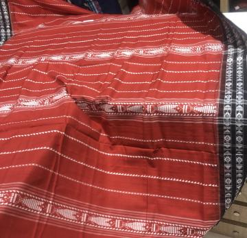 Rust all over body work Full body habaspuri Cotton Saree with blouse piece