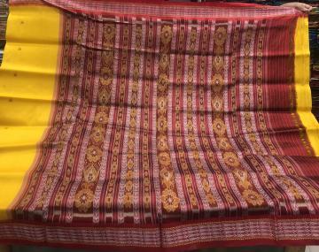 Fish motifs border with turtle motifs body Khandua Silk Saree without blouse piece